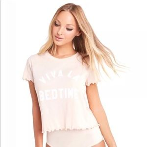 NWT Wildfox Light Pink Ruffle Trim Crop Tee Size M